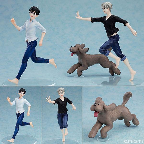 Set Figurines Katsuki Yuuri, Victor Nikiforov & Makkachin – Yuri!!! on Ice